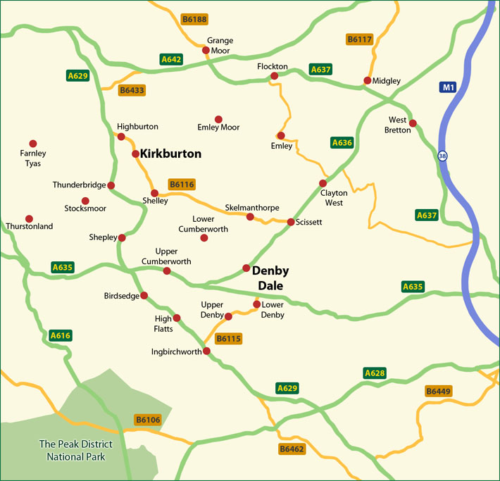 Map of Denby Dale, Kirkburton and the surrounding area